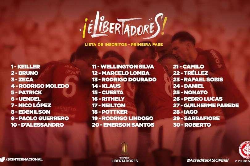 Lista de inscritos do Inter para a Libertadores 2019