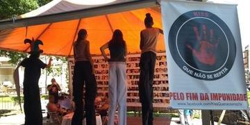 Alunos fizeram apresentação na tenda das famílias