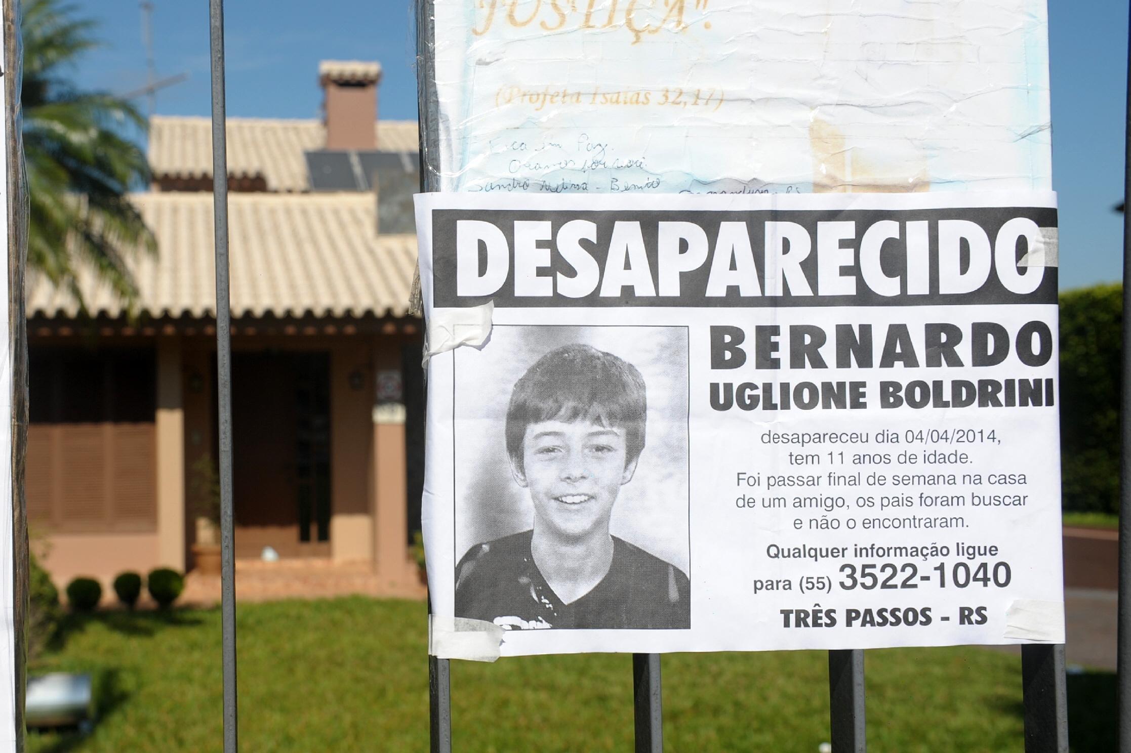 Desaparecido em 4 de abril de 2014 em Três Passos, Bernardo Uglione Boldrini, de 11 anos, foi encontrado morto dez dias depois no interior de Frederico Westphalen