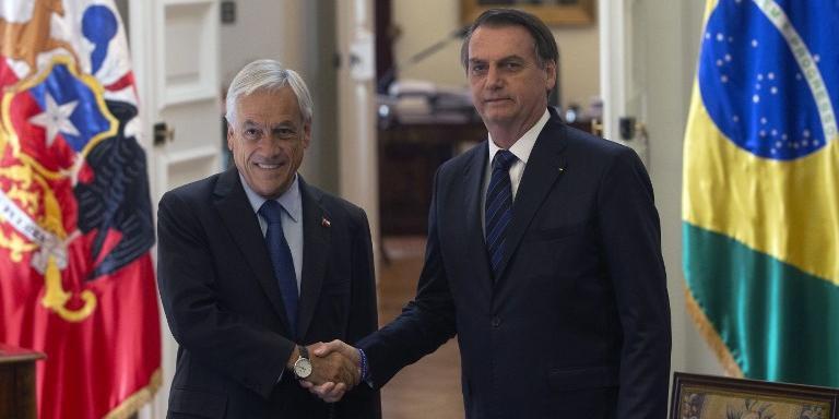 Jair Bolsonaro e Sebastián Piñera no encontro bilateral no Palácio de La Moneda