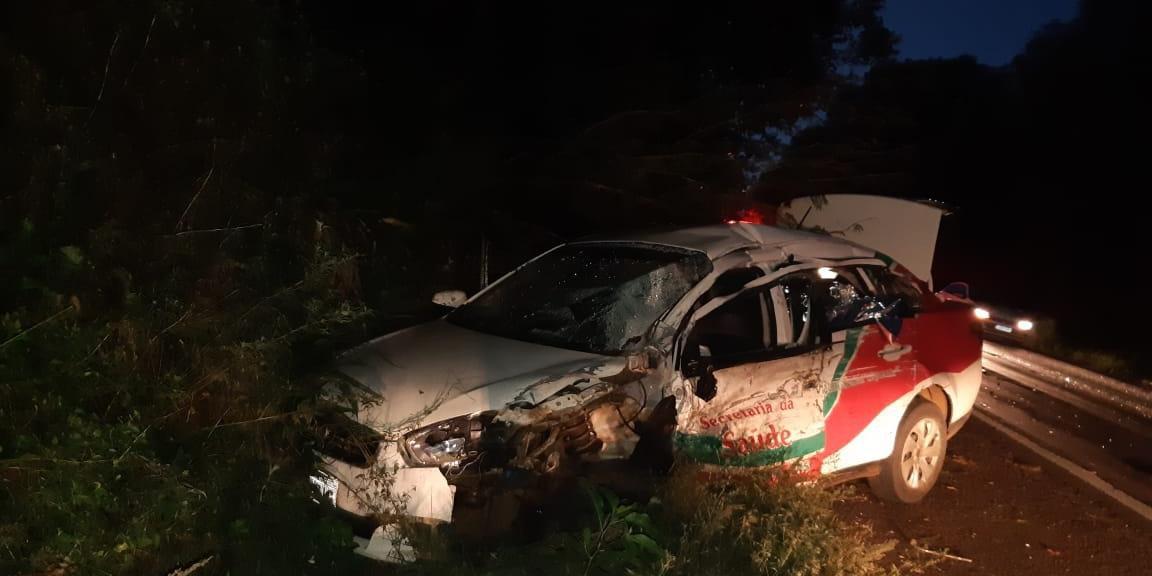Acidente de trânsito ocorreu no km 56 da BR 386, no município de Seberi. P