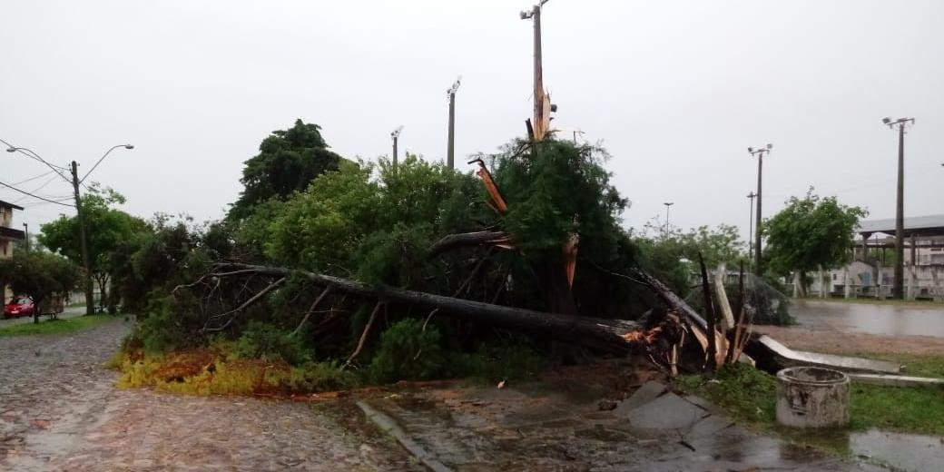 Segundo a CEEE, em Dom Pedrito, o INMET registrou ventos de 125,6 km/h entre 6h e 7h da manhã de hoje.