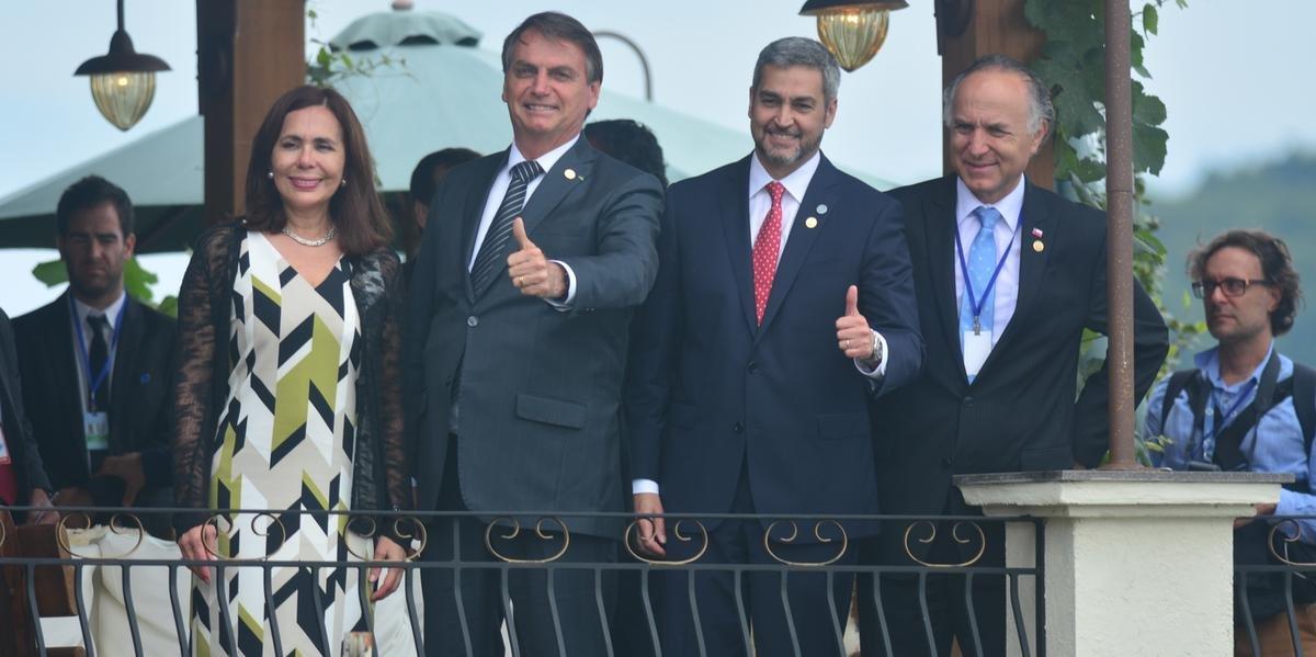 Presidente da República, Jair Bolsonaro, com o presidente do Paraguai, Mario Abdo Benítez, na 55ª Reunião do Mercosul