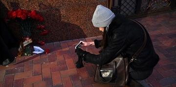 Homenagens foram colocadas em frente a embaixada iraniana em Kiev