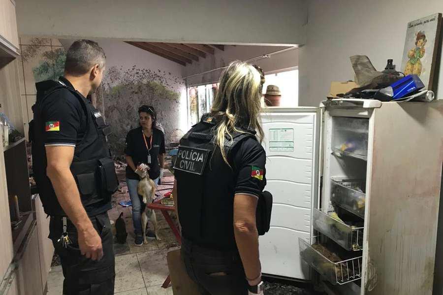 Polícia encontrou cães congelados dentro da residência onde estavam os animais em um ambiente insalubre