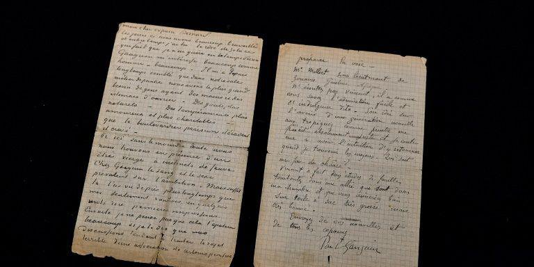 Foto da carta datada entre 1 e 2 de novembro de 1888 em Arles e faz referências a discussões sobre uma