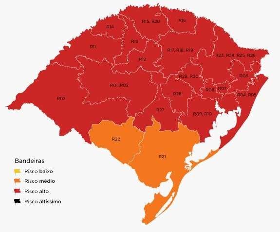 Com isso, de forma preliminar, 469 municípios (do total de 497) estarão classificados em bandeira vermelha