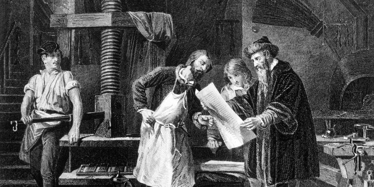 O sistema mecânico de Gutenberg (D) revolucionou a reprodução da informação