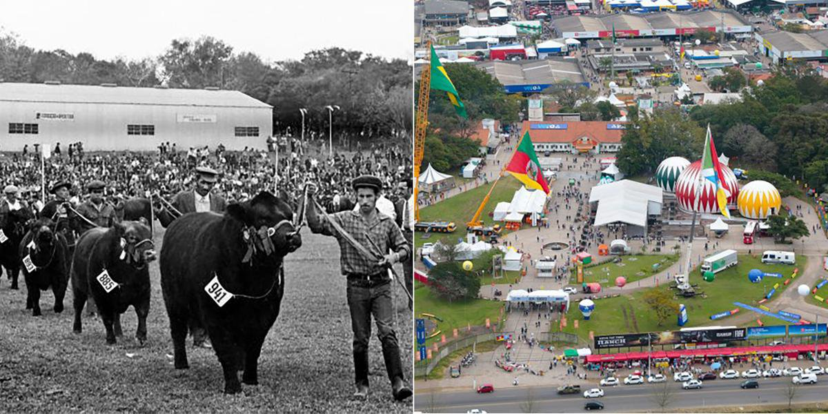 À esquerda, desfile da primeira Expointer, em 1972, dois anos depois da inauguração do parque e, à direita, o parque atualmente