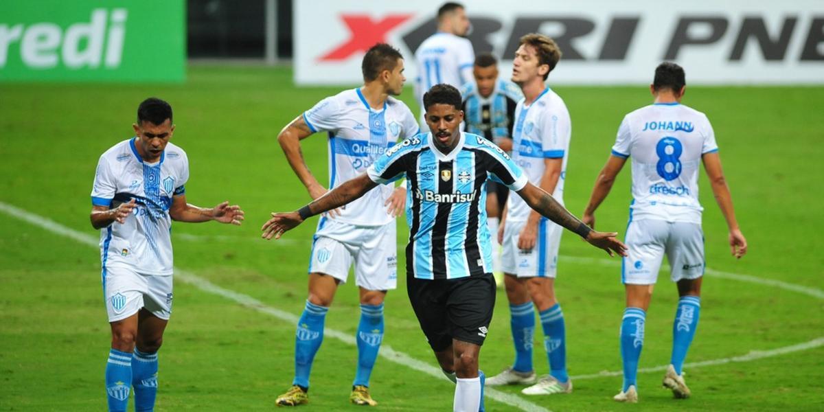 Jean Pyerre marcou um dos gols da vitória do Grêmio sobre o Novo Hamburgo, na Arena