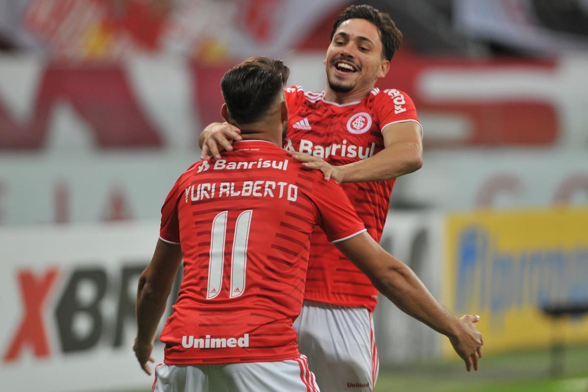Maurício e Yuri Alberto marcaram os dois primeiros gols para o Inter contra o Juventude - Divulgação: scctv.net.br